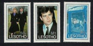 Lesotho Royal Wedding Prince Andrew Helicopter 3v SG#736-738