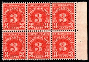 US STAMP #J82 – 1931 3c POSTAGE DUE STAMP MNH/OG BLK OF 6 FRESH