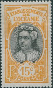 French Oceania 1913 SG25a 15c black and orange Tahitian Woman MLH