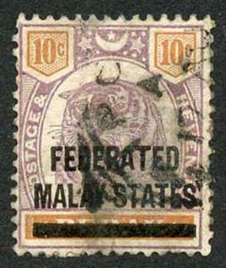 Malay States SG10 Malay States on 10c Perak (tiny thin at left)