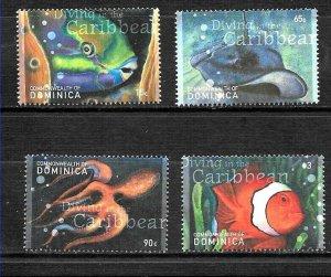 #8323 DOMINICA 2007 FAUNA FISHES+MARINE LIFE YV 2684-7 MNH