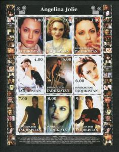 Tajikistan Commemorative Souvenir Stamp Sheet - Actress Angelina Jolie