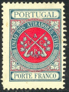 PORTUGAL 1899 CIVILIAN RIFLE CLUB FRANCISE STAMP Sc 2S1 MH