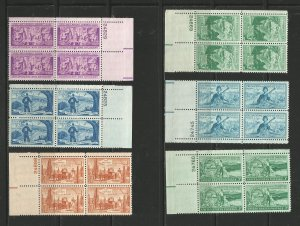 USA Stamps #1011,1017,1019,1022,1024,1028 Plate Blocks of 4