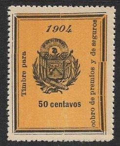 EL SALVADOR 1904 50c ARMS Recovery of Insurance Revenue Ross 117 MNGAI