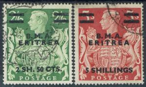 BRITISH OCCUPATION ITALIAN COLONIES  1946 BMA ERITREA KGVI 2/6 AND 5/- USED