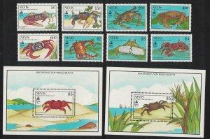 Nevis Crabs 8v+2 MSs 1990 MNH SG#546-MS554