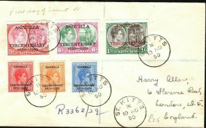 ST KITTS FDC *ANGUILLA TERCENTENARY* 1d - 1s First Day Cover GB 1950 PB345