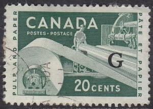Canada O45 USED 1955 Industry 20¢ O/P