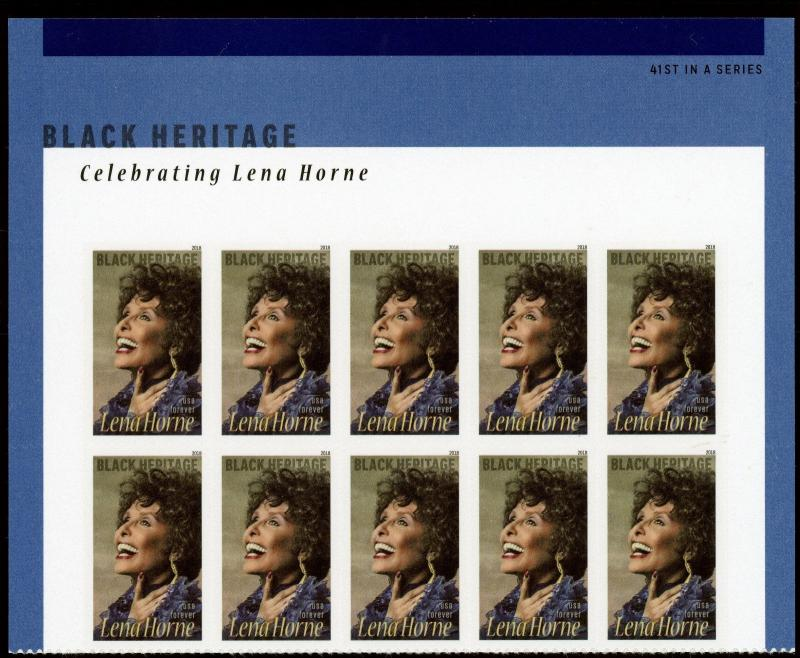 US  5259  Lena Horne  - Forever Header Block of 10 - MNH - 2018
