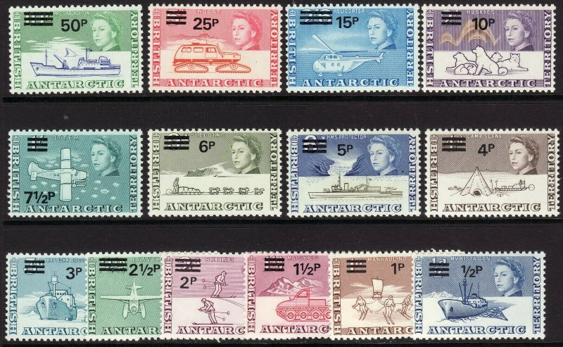 1971 British Antarctic Territory BAT QE surcharge full set (14) MNH Sc# 25 / 38
