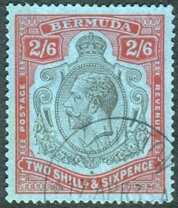 BERMUDA-1929 2/6 Black & Red Blue.  A very fine used example Sg 89g