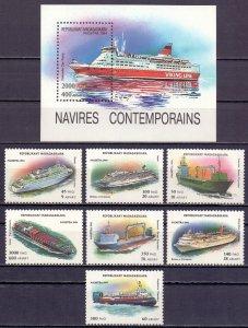 Madagascar. 1994. 1752-58 bl264. Ships. MNH.