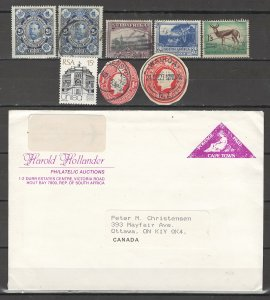 COLLECTION LOT # 4214 SOUTH AFRICA 6 STAMP + 2 CUT SQUARE+1 COVER 1910+CLEARANCE