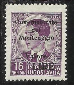 MONTENEGRO 1942 GOVERNATORATO BLACK OVERPRINTED SOPRASTAMPA NERA LIRE 16 D MNH
