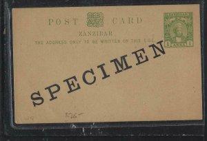 ZANZIBAR   (PP0908B)  1897 YOUNG SULTAN 1/2A PSC OVPT SPECIMEN