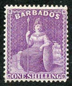 Barbados SG83 1875-80 1s dull mauve wmk CC sideways perf 14 Brilliant Mint