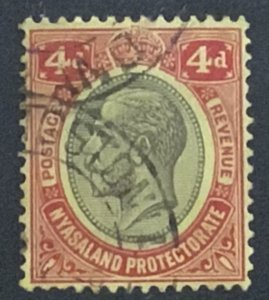 NYASALAND 1921 4d SG106 WATERMARK SCRIPT..CAT £11