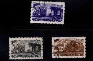 Russia Scott 1272-1274 Used CTO Iron and machinery industry stamps 1948