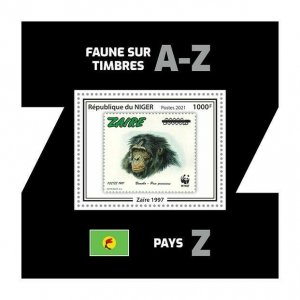 Niger 2021 MNH Stamps-on-Stamps Stamps Chimpanzees Wild Animals WWF 1v S/S IV