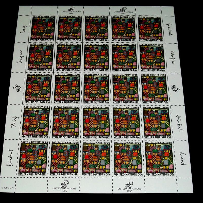 U.N.1995, NEW YORK #656 SOCIAL SUMMIT SHEET/25, MNH, NICE! LQQ50