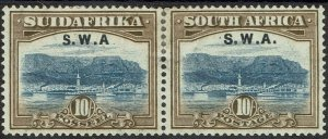 SOUTH WEST AFRICA 1927 TABLE MOUNTAIN 10/- PAIR VARIETY STOP PARTIALLY MISSING