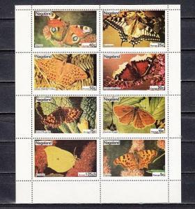 Nagaland, 1974 India Local. Butterflies sheet of 8.