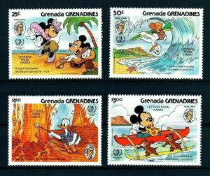 GRENADA - 1985 - DISNEY - MICKEY - LETTERS FROM HAWAII - MARK TWAIN - MNH SET!