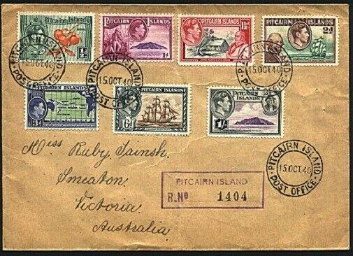 PITCAIRN 1940 GVI 7 values to 1/- registered FDC to Australi...............90384