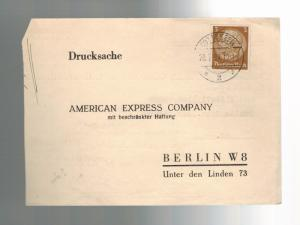 1937 Germany Berlin Postcard Cover to New York American Express Business Letter