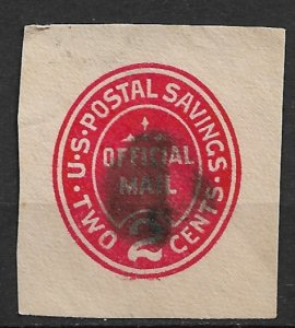 1911 USA UO72 Postal Saving 2¢ cut square used
