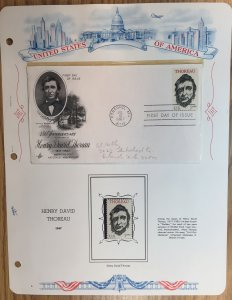#1327 Henry David Thoreau FDC and MNH Single in mount on souvenir page