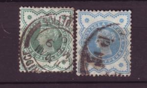 J19721 Jlstamps 1900 great britain used 124,blue green 124 blue changeling queen