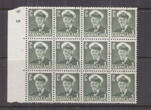 GREENLAND, 1950 King Frederik IX 1o. Green, marginal block of 12, used..