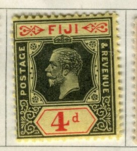 FIJI; 1922-27 early GV issue fine Mint hinged 4d. value