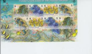 2012 Pitcairn Is WWF Fluted Giant Clam FS (Scott 743) MNH