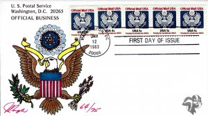 Pugh Designed/Painted Official Business Strip of 5 FDC...64 of 75 created!