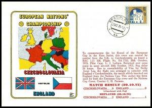1975 England V Czechoslavakia Commemorative First day Cover