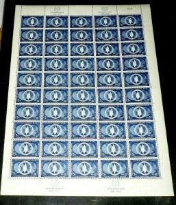 U.N. 1952, NEW YORK #14, HUMAN RIGHTS DAY. MNH, SHEET/50, CONTROL #039, LQQK!