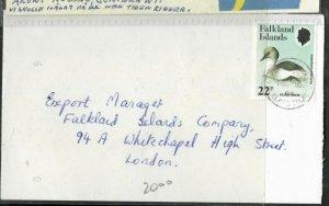 FALKLAND ISLANDS (P3005B)  1984 QEII 2P BIRD ON COVER TO ENGLAND