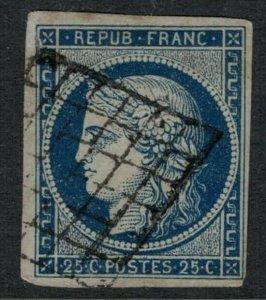 France #6 CV $40.00 4 margin postage stamp
