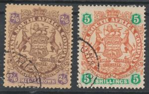 RHODESIA 1896 ARMS 2/6 AND 5/- HEAVY SHADED LION USED