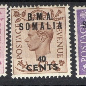 BMA Somalia 1950s Early Issue Fine Mint Hinged 40c. Surcharged Optd NW-14623