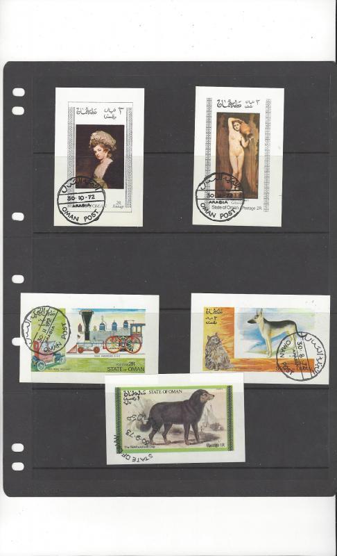 Oman  5 Souvenir Sheets Various Subjects  CTO Never hinged, full gum