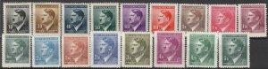 Stamp Germany Bohemia Czech Mi 089-104,42 Sc 62-77, 90 WWII Hitler War Era MNH