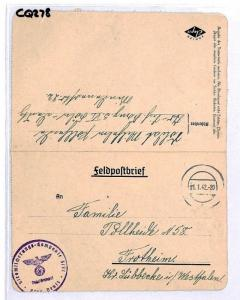 CQ278 Germany *KOLN* 1942 WW2 Military Cover & Original Letter Contents