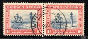 SOUTH WEST AFRICA Stamps 1d Cape Cross Pair Windhoek CDS 1934 Used BLBLUE47