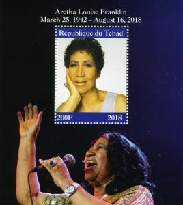 CHAD 2018 Tribute to Aretha Franklin Music s/s Perforated Mint (NH)
