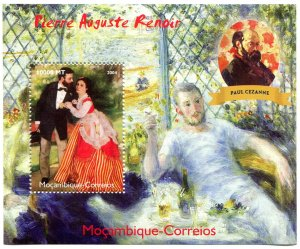 Mozambique 2004 RENOIR Paintings & Paul Cezanne s/s Perforated Mint (NH)