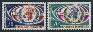 Dahomey 250-251,MNH.Michel 337-341. WHO,20th Ann.1968.